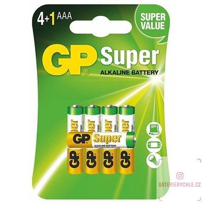 Alkalická baterie GP Super LR03 (AAA), 4+1 zdarma