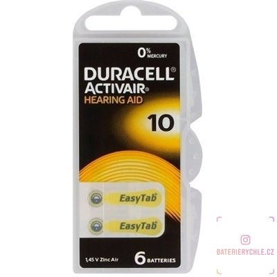 Baterie  do naslouchadel Duracell ActivAir 10 (PR70) 6ks, DA10 Duralock, blistr