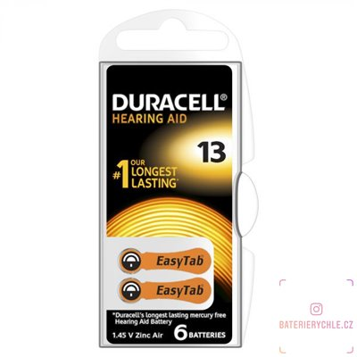 Baterie  do naslouchadel Duracell ActivAir 13 (PR48) 6ks, DA13 Duralock, blistr