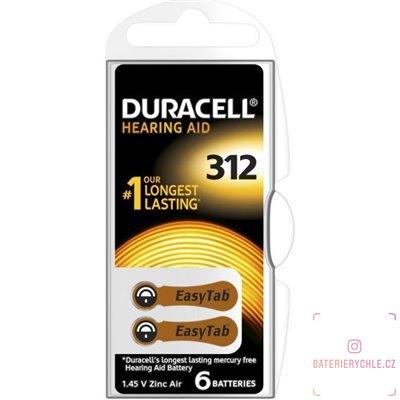 Baterie  do naslouchadel Duracell ActivAir (PR41) 312 6ks, DA312 Duralock, blistr