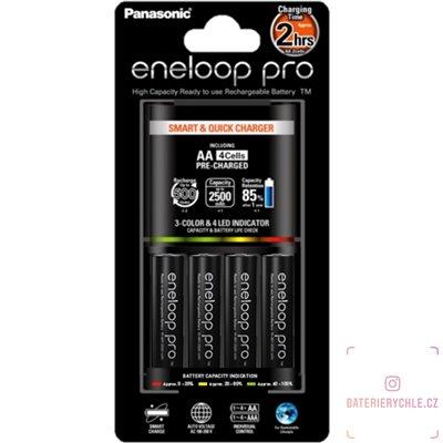 Inteligentní nabíječka baterií Panasonic BQ-CC55, včetně baterií Eneloop Pro Profesional 2550mAh 4ks