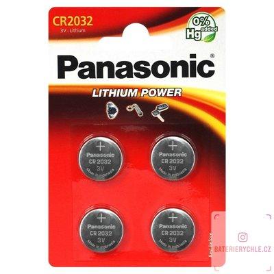 CR2032 Knoflíková baterie Panasonic, 3V, 225mAh, lithiová, 4ks, blistr