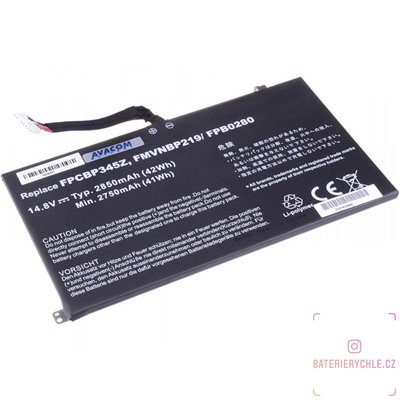 Baterie pro notebook Fujitsu Siemens LifeBook UH572, Li-Pol 14,8V 2850mAh/42Wh 1ks