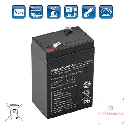 Olověný akumulátor EuroPower EP 4,5-6 6V 4.5Ah AGM bezúdržbový 1ks