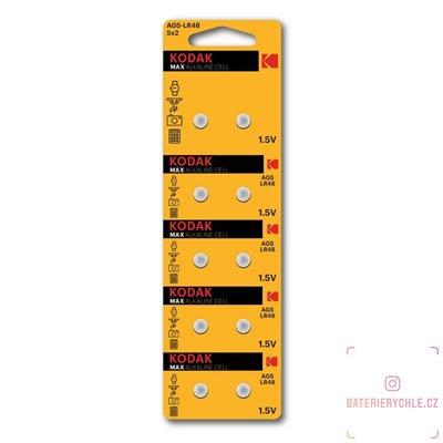 Knoflíková baterie Kodak LR48, LR754, G5, 1.5V, 53mAh, alkalická, 10ks, blistr