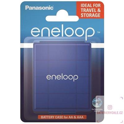 Pouzdro na 4ks baterií R6/AA R03/AAA Eneloop modré 1ks, blistr BQ-CASEL/1E
