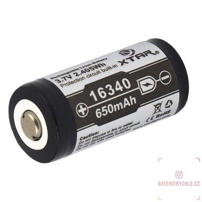 Nabíjecí baterie Xtar 16340, RCR123A, 650mAh, Li-ion, 3,7V, (vč. ochr. obvodu) 1ks
