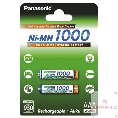 Nabíjecí baterie Panasonic AAA 1000mAh (BK-4HGAE/2BE) 2ks blistr
