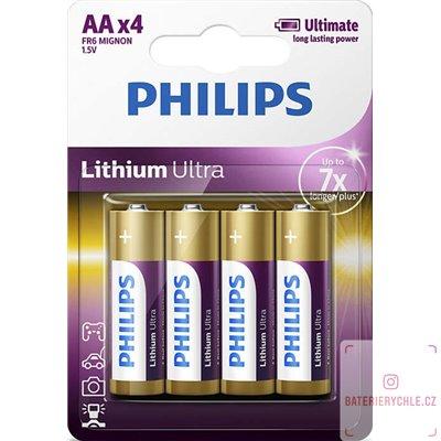 Baterie PHILIPS Lithium Ultra AA 4ks FR06LB4A
