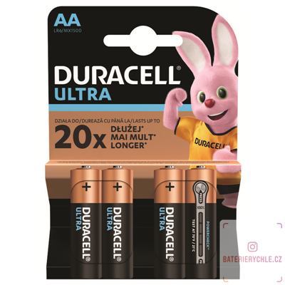 Baterie Duracell Ultra Power LR6 AA alkalicá 4ks, blistr