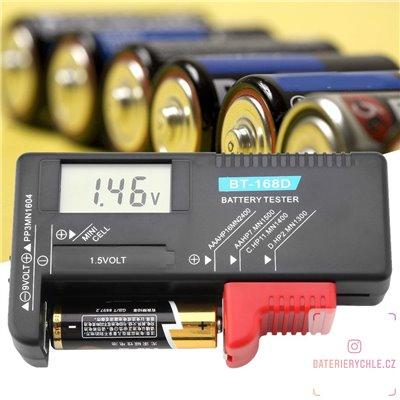 Tester baterií AAA, AA, C, D, LRxx, 9V s jednoduchým ovládáním, BT-168D digitální